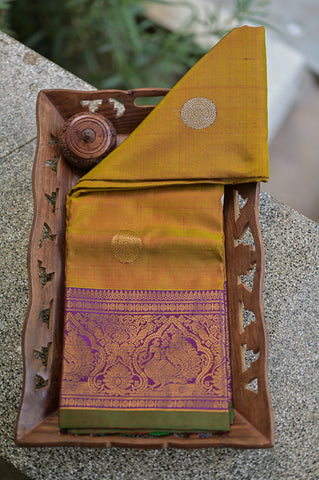 Gold and Purple Gadwal Duppata-2309