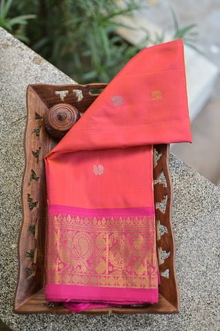Pinkish Orange Gadwal Duppata-2316