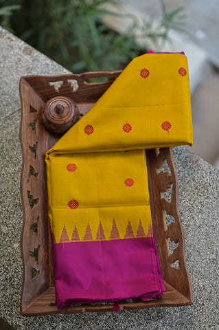 Yellow and Pink Gadwal Duppata-2319