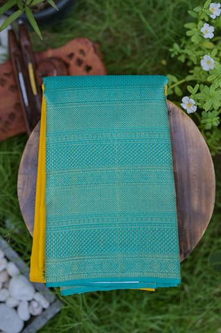Turquoise Green and Yellow Half&Half Saree-2330