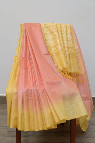 Peach and Yellow Cotton Kota Saree-2618
