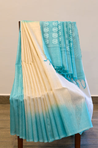 Beige and Blue Cotton Kota Saree-2619
