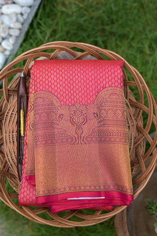 Reddish Pink Kanchipuram Saree-2651