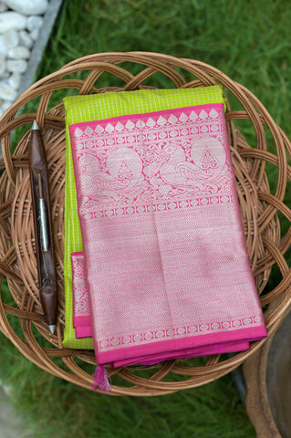 Green and Pink Kanchipuram Saree-2467