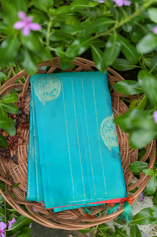 Turquoise Blue and Red Kanchipuram Saree-2408