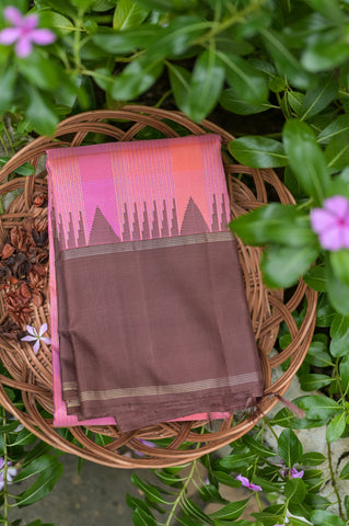 Pink Checkered Kanchipuram Saree-2428