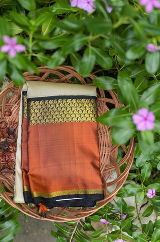 Half White adn Orange Kanchipuram Saree-2401