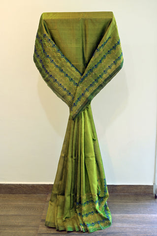 Green Cotton Saree-2482A