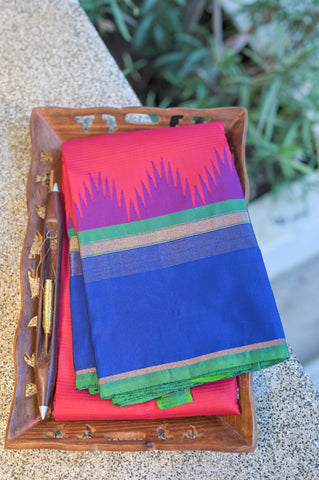 Pink and Blue Kanchipuram Saree-1307