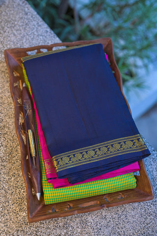 Green and Blue Kanchipuram Saree-1077
