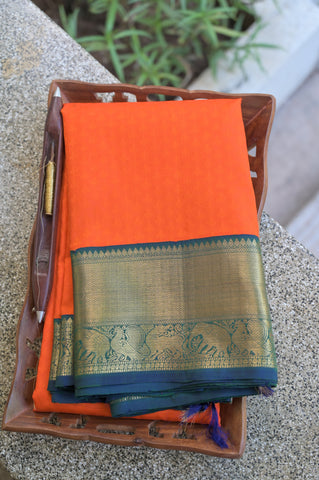 Orange and Green Kanchipuram Saree-1709