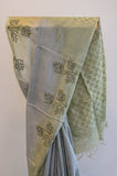 Grey and Green Cotton Saree-2447