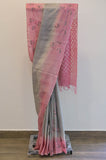 Grey and Pink Cotton Saree-2448