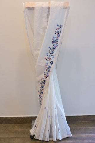 White Chikkankari Saree-2443