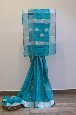 Teal Blue Georgette Banaras Saree-2468