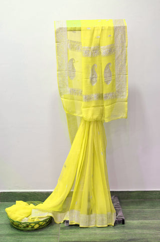 Yellow Georgette Banaras Saree-2471A