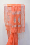 Peach Georgette Banaras Saree-2469