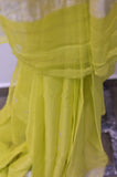 Lime Yellow Georgette Banaras Saree-2470