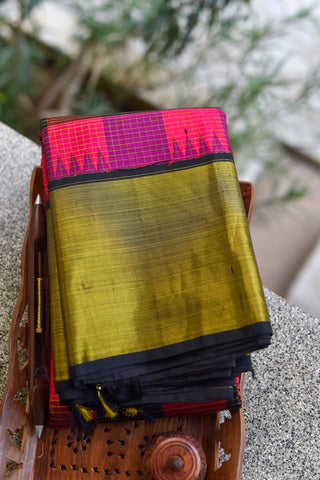 Pink and Black Kanchipuram Saree-1436