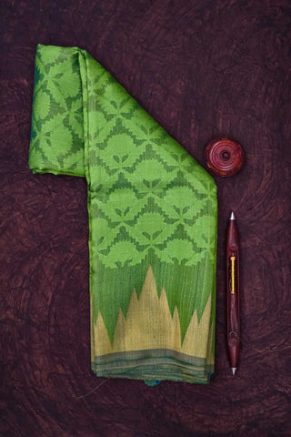 Parrot Green Tussar Silk Saree-1095