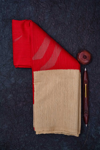 Red and Beige Tussar Silk Saree
