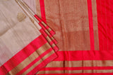 Beige and Red Tussar Silk Saree-1169
