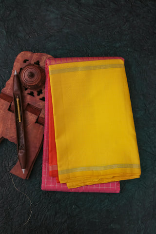Yellow and Pink Checkered Kanchipuram Saree-119A