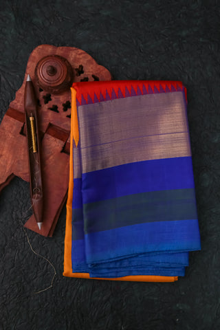 Yellow and Blue Kanchipuram Saree-120A