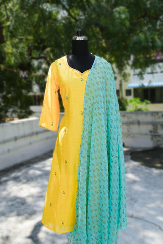 Yellow and Cyan Block Print Salwar