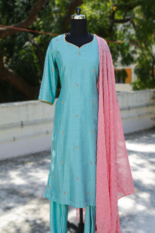Pastel Blue and Pink Block Printed Salwar