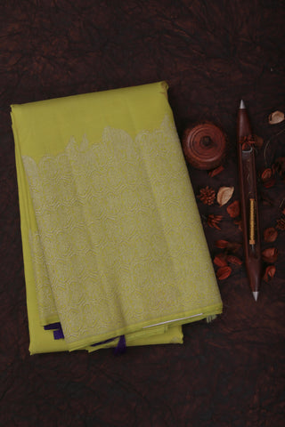 Lime Green and Blue Kanchipuram Saree-1775