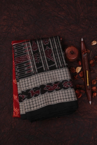 Brick Red and Black Silk Saree-1852