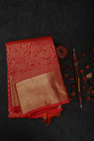Pinkish Orange Kanchipuram Saree-1644