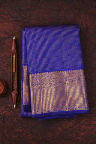Blue Checkered Kanchipuram Saree-126A