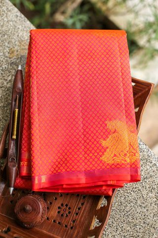 Pinkish Orange Kanchipuram Saree-2213