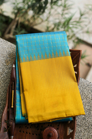 Light Blue and Yellow Checked Kanchipuram Saree-2240