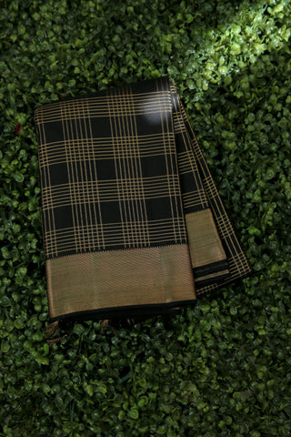 Black and Gold Checkered Saree -1280