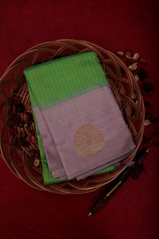 Green Stripes Kanchipuram Saree-1438