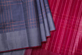 Grey Checkered Kanchipuram Saree-1762