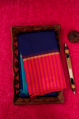 Navy Blue and Pink Kanchipuram Saree-1623