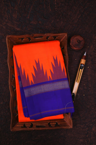 Orange and Blue Kanchipuram Saree-1305