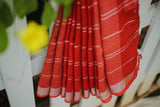 Red Linen Saree- 1159