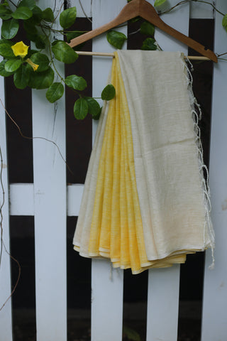 Yellow and Beige Linen Saree-1397