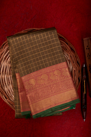 Olive Green Checkered Kanchipuram Saree-1714