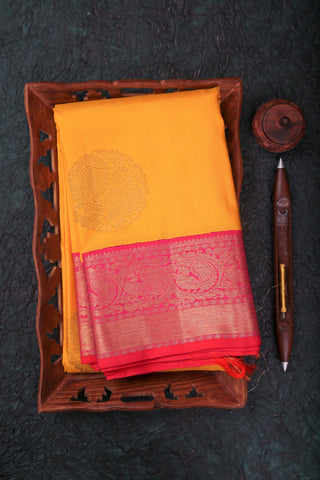 Yellow and Red Kanchipuram Saree-1650