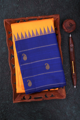 Yellow and Blue Kanchipuram Saree-1555
