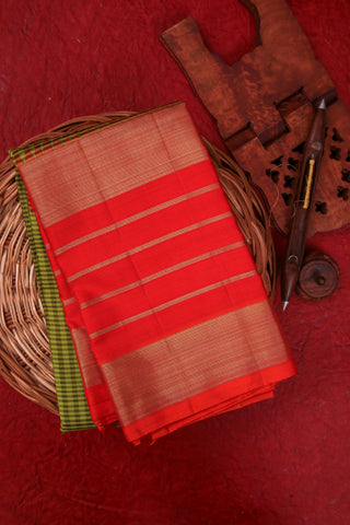 Lime Green and Orange Kanchipuram Saree-1318