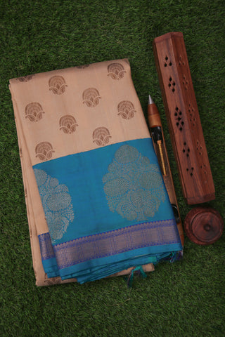 Half White and Blue Kanchipuram Saree-1506