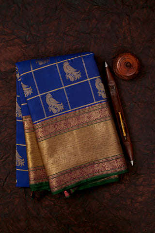 Blue Checkered Kanchivaram Saree-1649