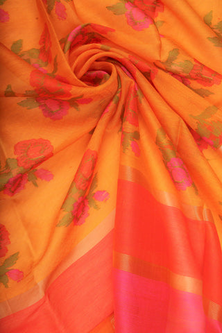 Yellow and Orange Organza Saree-1184
